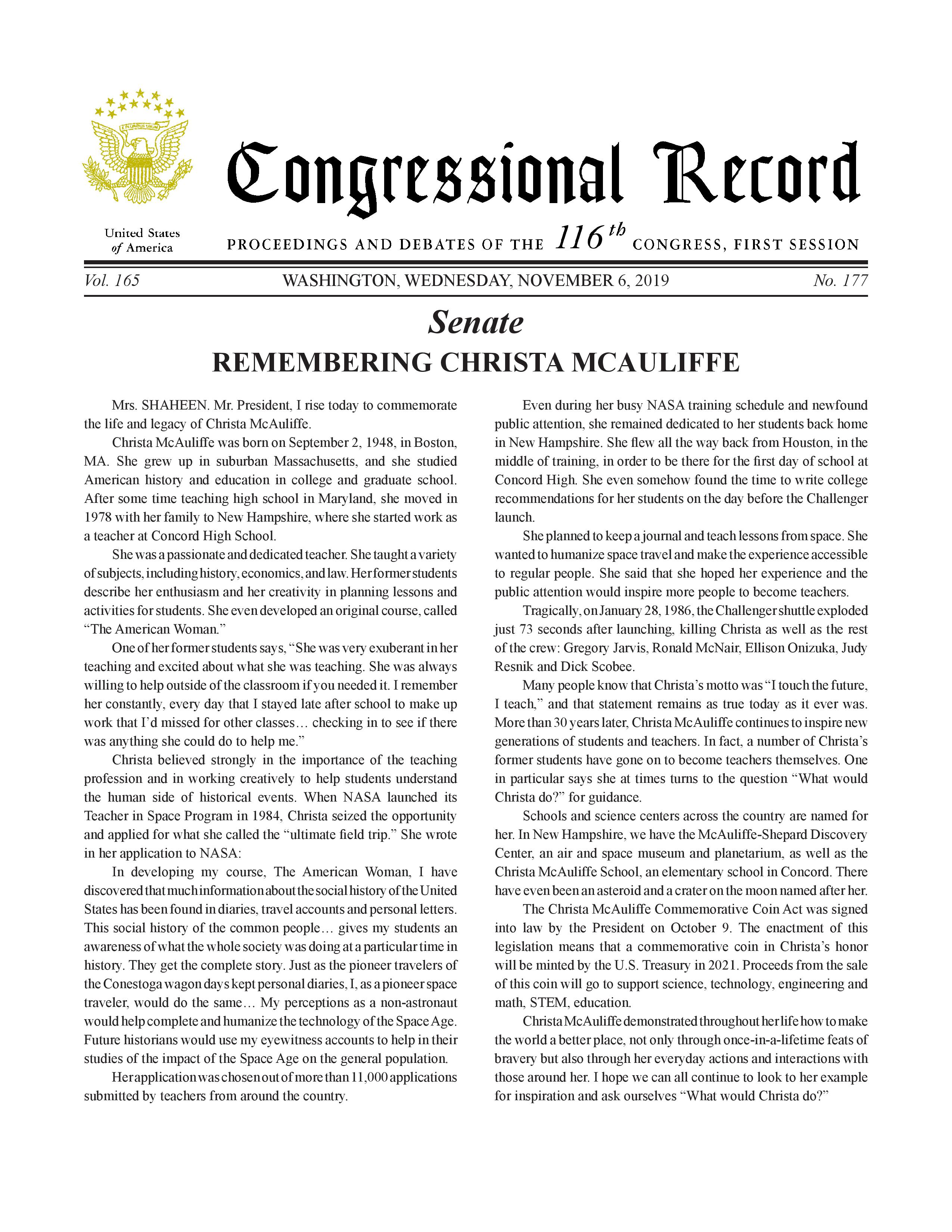 Christa McAuliffe CR statement