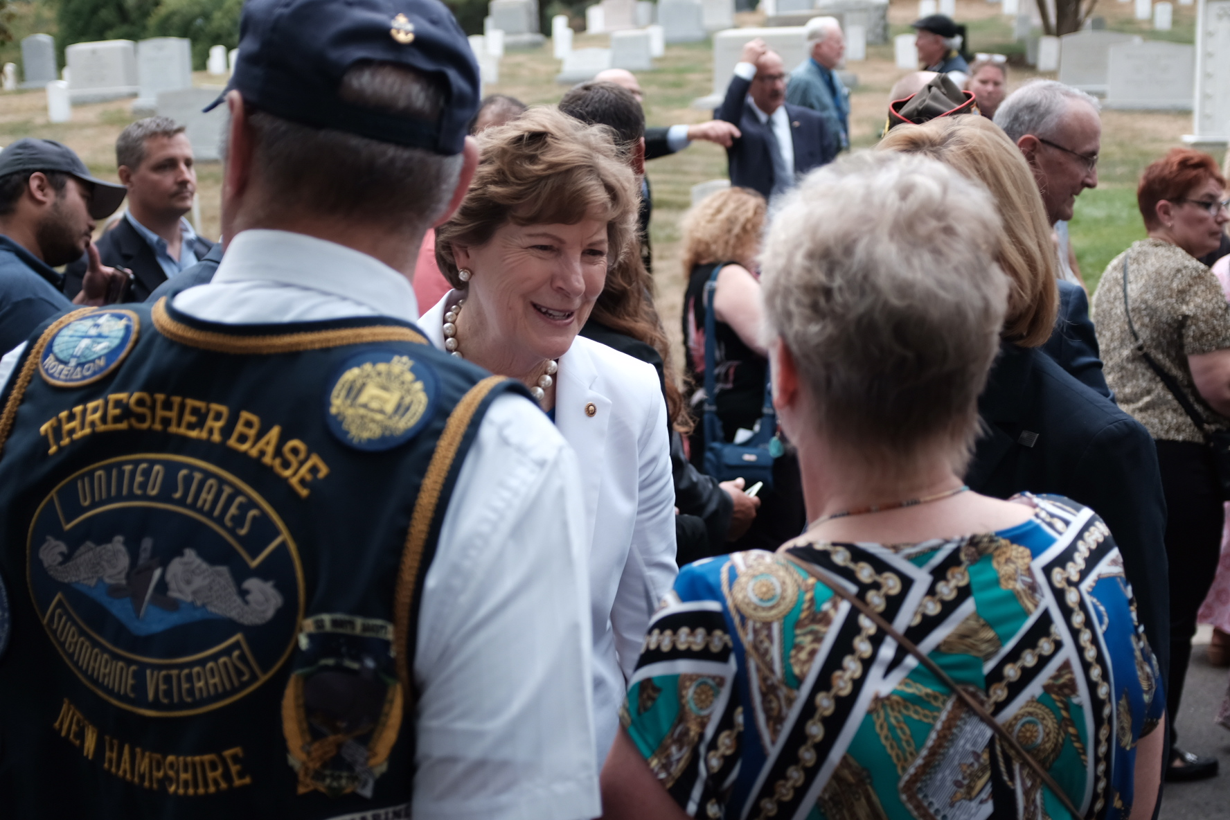 Shaheen talking to guests at Thresher ceremony
