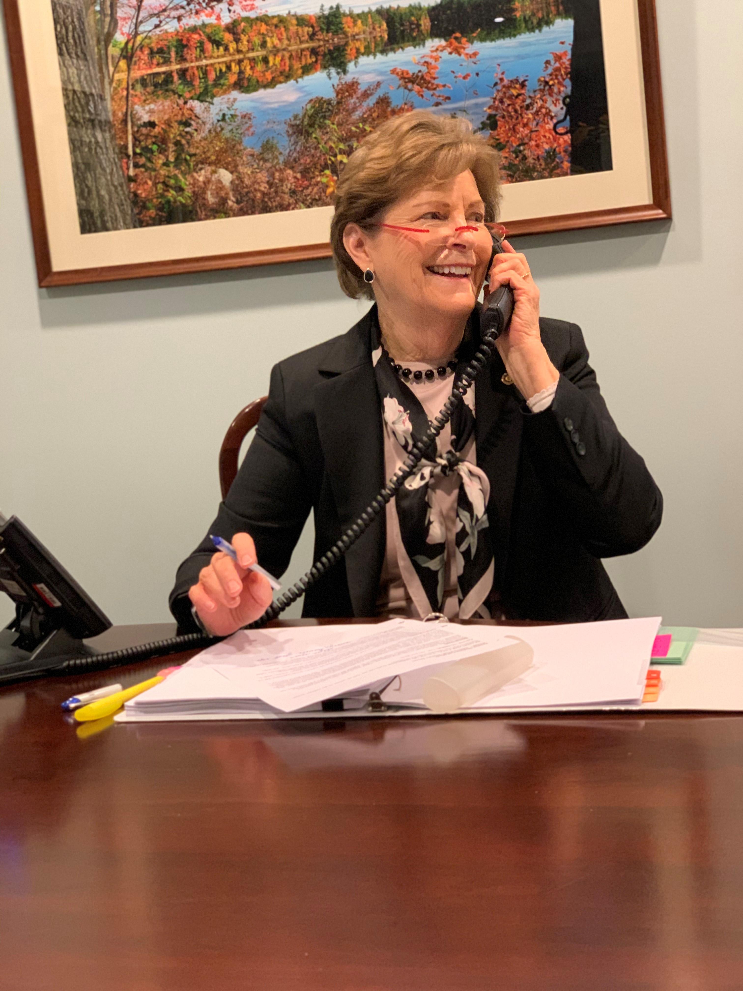Senator Shaheen speaking to Andrea Krull