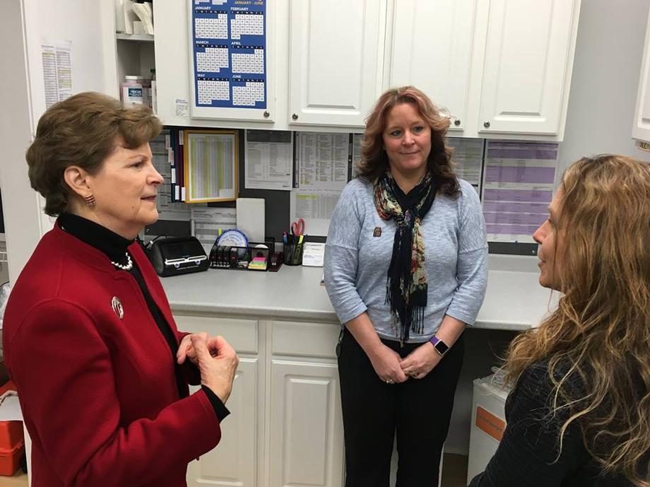 In Claremont, Senator Shaheen visited the Planned Parenthood that was vandalized twice last year forcing the facility to temporarily close. Shaheen toured the facility and met with staff to discuss the vandalism as well as the need to support Planned Parenthood, which provided health care services to 12,000 Granite State women in 2014.