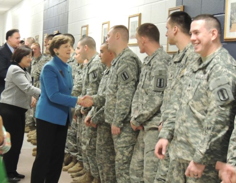 Senator Shaheen took part in a deployment ceremony, seeing off the 3rd Battalion, 197th Field Artillery Unit of the New Hampshire Army National Guard in Hooksett. The 197th will be deployed to the CENTCOM area of operations in support of Operation Spartan Shield.