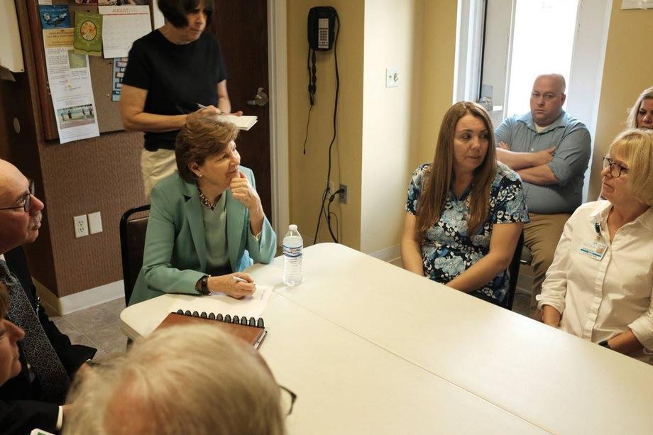 Senator Shaheen in Berlin meeting with participants and staff members at Coos County Family Health Services to discuss their ongoing efforts to help pregnant and parenting mothers living with substance use disorder.