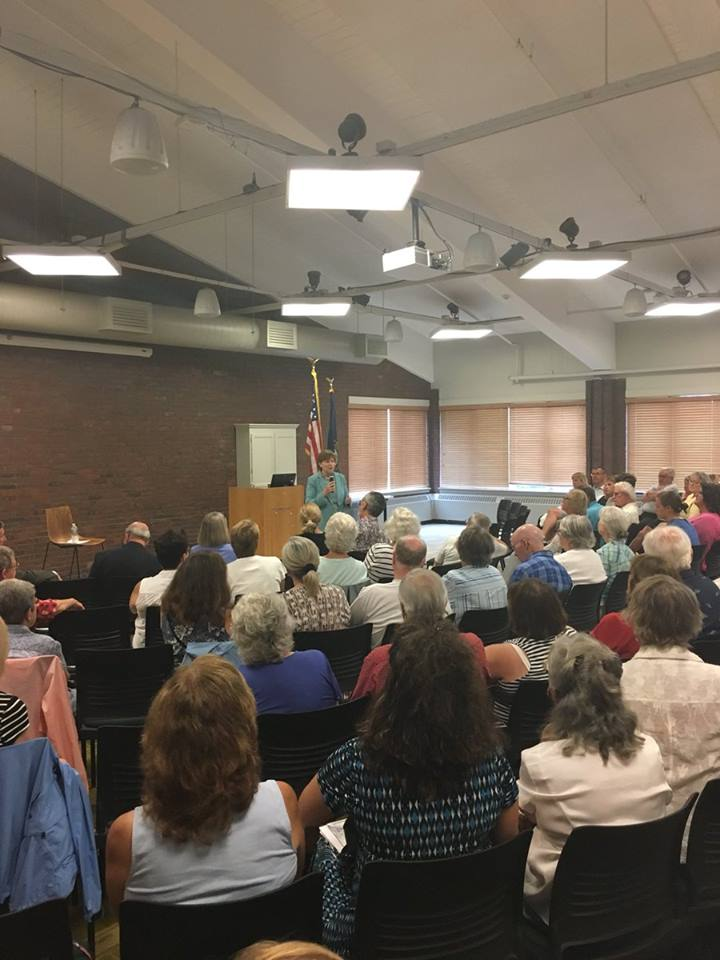 Senator Shaheen at a town hall meeting in Plymouth.