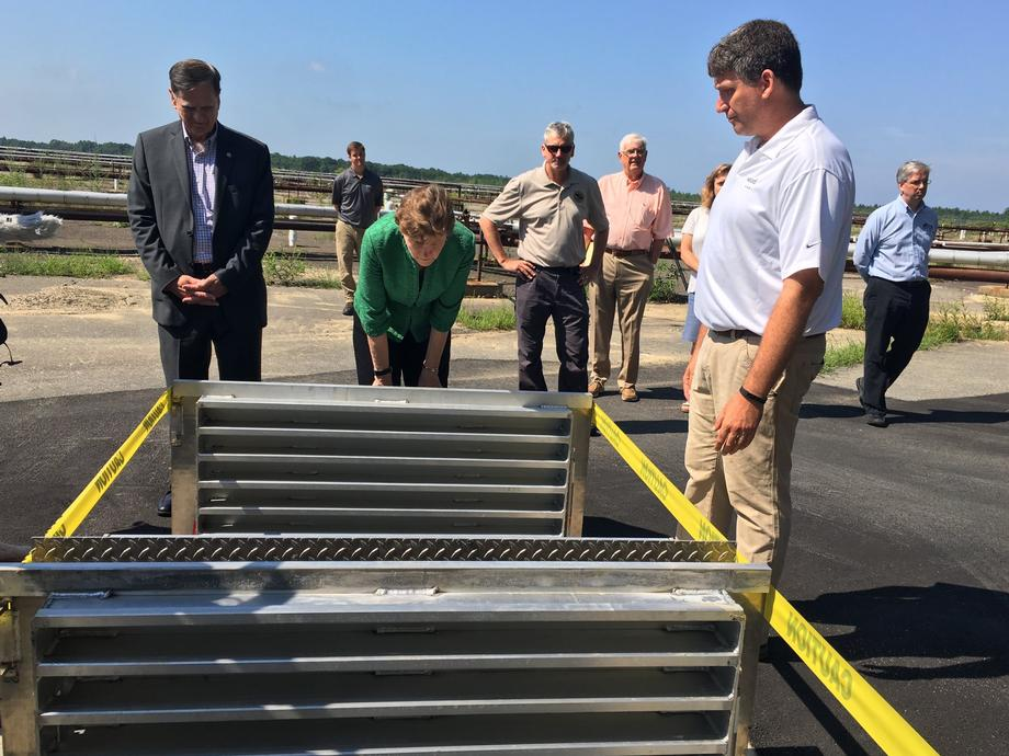 Senator Shaheen tours the new water treatment plant at Pease.