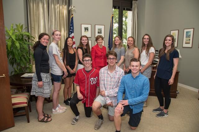 Senator Shaheen meets with students from Moultonborough Academy during their visit to Washington for the National History Day Contest.