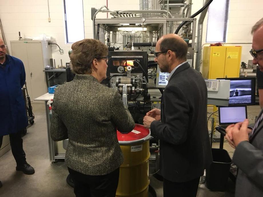 In Merrimack, Senator Shaheen visiting Nanocomp Technologies with NASA officials.