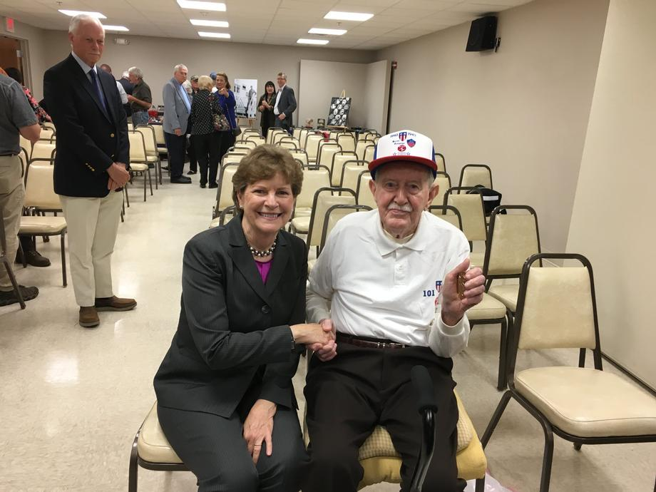 Senator Shaheen with Roger Campbell, to whom she presented the Congressional Gold Medal for his heroic service as part of the Office of Strategic Services (OSS) during World War II.