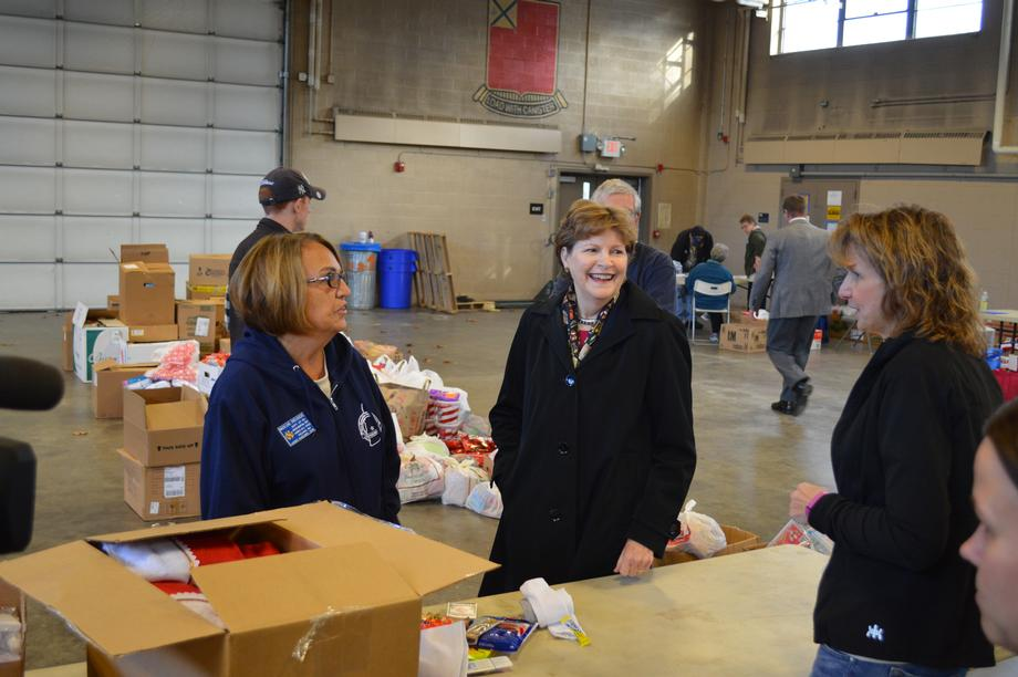 Senator Shaheen and Operation Care for Troops Volunteers in Nashua