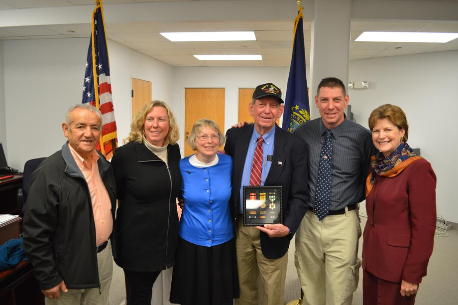Senator Shaheen Presents Ray Vercoe with the National Defense Service Medal, Vietnam Service Medal with two bronze star appurtenances, Navy Unit Commendation Ribbon, Navy