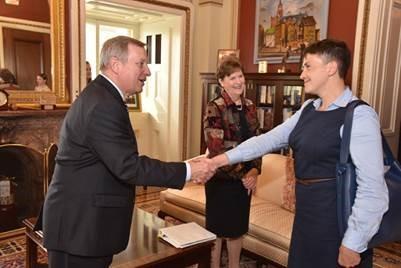 Senators Durbin and Shaheen meet with Nadiya Savchenko